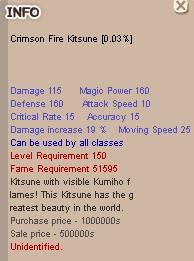 Crimson Fire Kitsune +0 , CFK +0