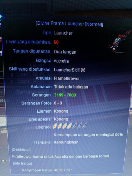 Senjata Launcher DFLN +4 Level 60
