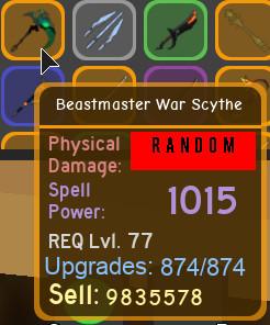 Dungeon Quest   Beastmaster War Scythe (Legendary)