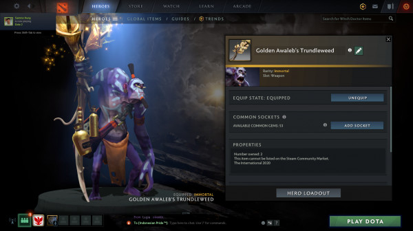 Golden Awaleb's Trundleweed (Immortal TI 10 Witch Doctor)
