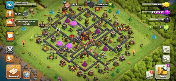 Clash of Clans SC ID-TH 10 Level 92 - Prematur