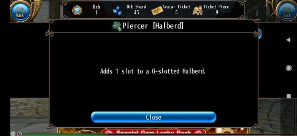 Piercer Halberd 0-1
