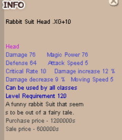 Rabbit Suit Head XG+10