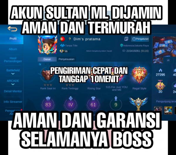 Akun Mobile Legend Hero83 skin61 EmblemMax Garansi