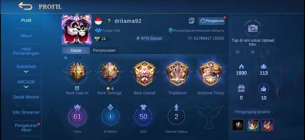 Akun MLBB Hero 61 Skin 50 All Unbint