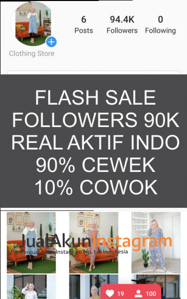 Jual Akun Instagram Followers 90K Real