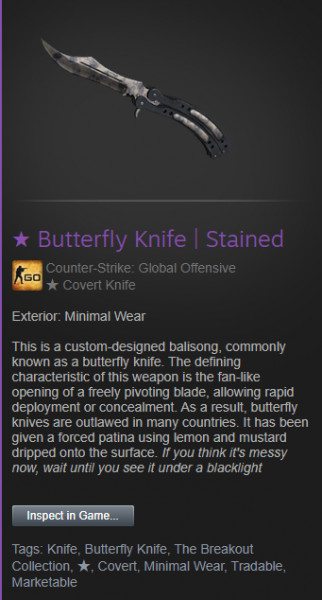 ★ Butterfly Knife | Stained (★ Covert Knife)