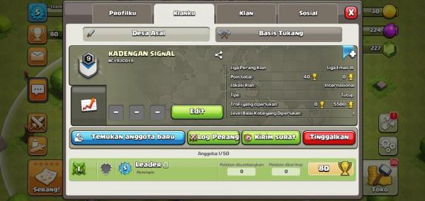Clan lvl 9 ada 2 stok