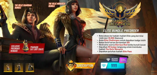 PROMO PREORDER ELITE PASS 1000 DIAMOND
