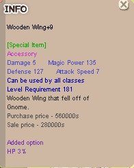 Wooden Wing +9 HP 3%