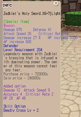 Zadkiel Defender Weapon + Shield XG+7