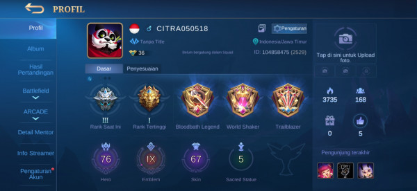 Akun Mobile legends|Emblem All Max|All Unbint