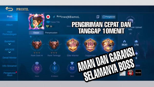 Akun Mobile Legend hero72 skin52 Allunbind Aman Murah