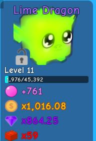 Lime Dragon Bubble Gum Simulator