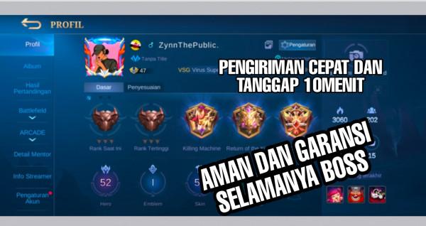 Akun Mobile Legend hero52 skin55 Epic Limit Fanny Aman