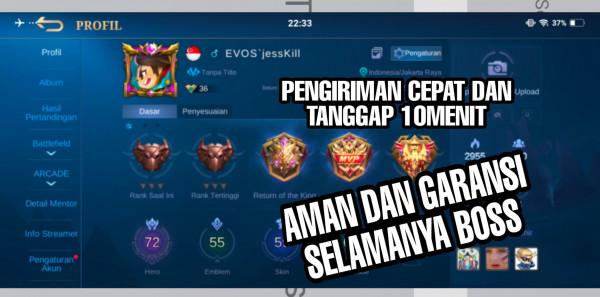 Akun Mobile Legend hero72 skin55 Allunbind Garansi
