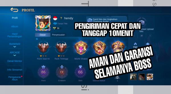 Akun Mobile Legend hero86 skin66 EmblemMax GaransiSultan