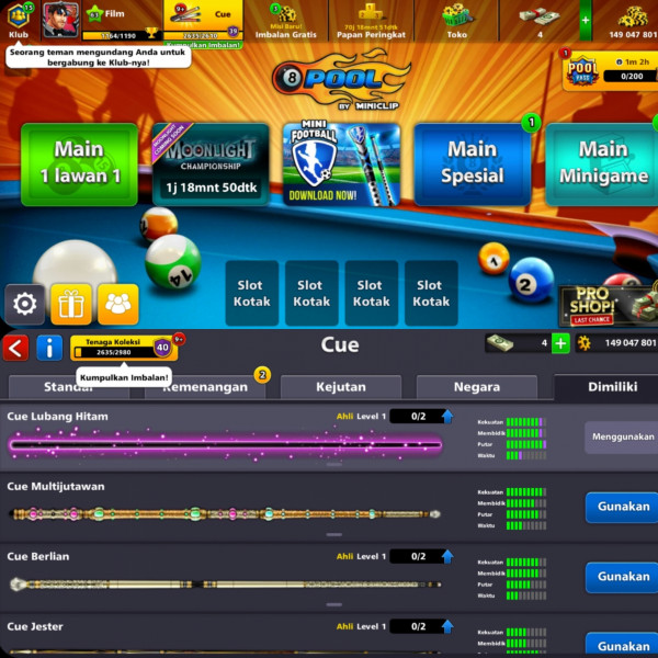 Akun 8 Poll, 150 Juta Coin, Black Hole Cue| Murah