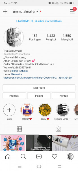 akun instagram 1400+ follower real indonesia