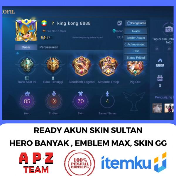 AKUN RANK EPIC ( HERO BANYAK & SKIN GG BGT) #MURAH