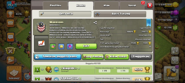 Warriors Clan Level 9