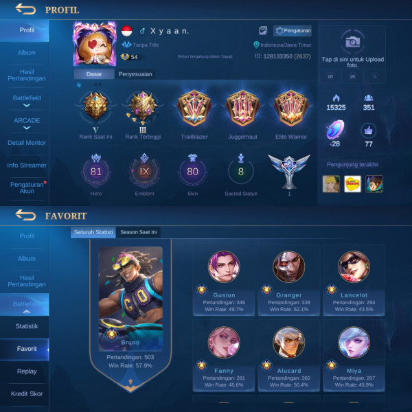 Mobile Legends Emblem All Max Skin + Hero Banyak