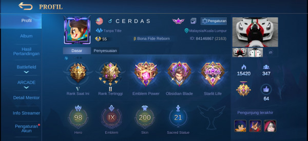 Mobile legends super sultan murah meriah