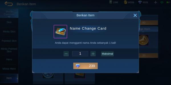Name Change Card (Ganti Nama)