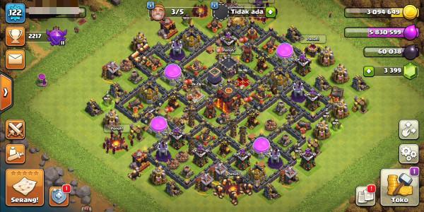 Townhall10 hero16/17 gems3399 ganti nama gratis