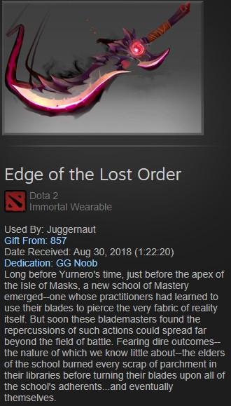 Edge of The Lost Order (Immortal TI8 Juggernaut)