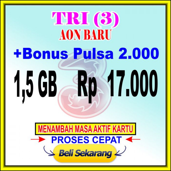 3 AON (1,5 GB+PULSA 2.000)