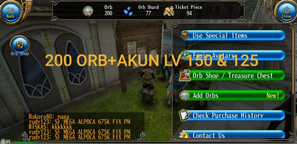 AKUN ISI 200 ORB LEVEL 150