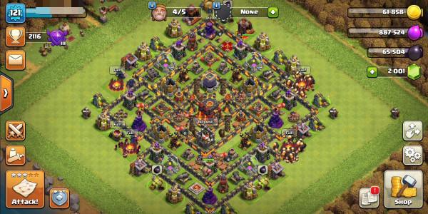 Town Hall 10 hero27/30 gems2001