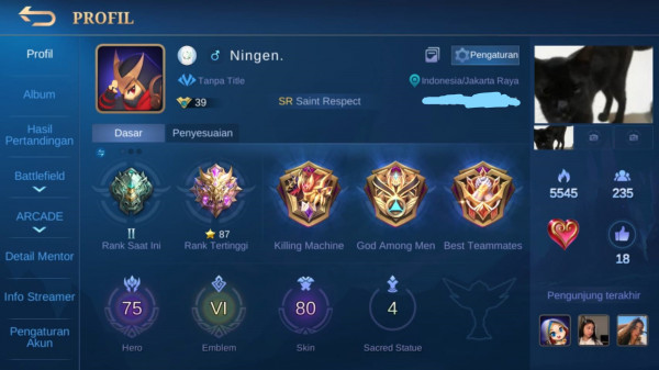 Dijual Akun Assassin Main Hayabusa Top Global