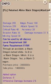 Fly Returned Albino Black Dragon (Attack)+9