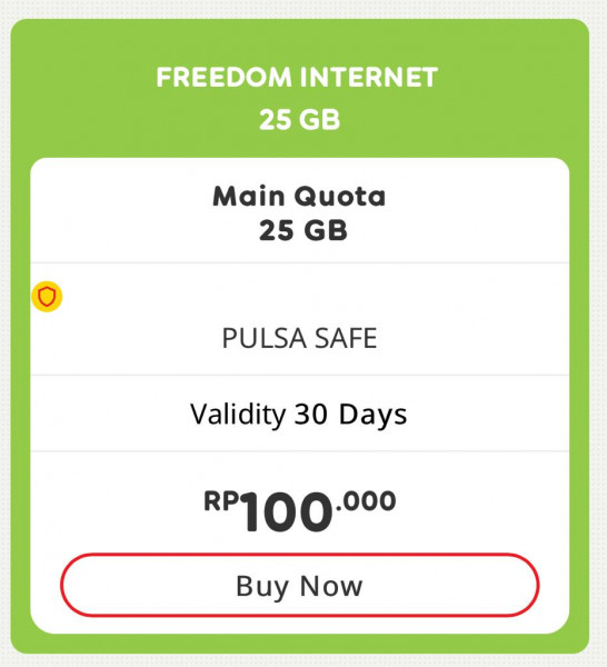 Gift Paket Data Freedom Internet 25GB