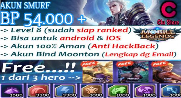 Akun Murah BP 54k+ Hero 8 Skin 2 Item Lainnya