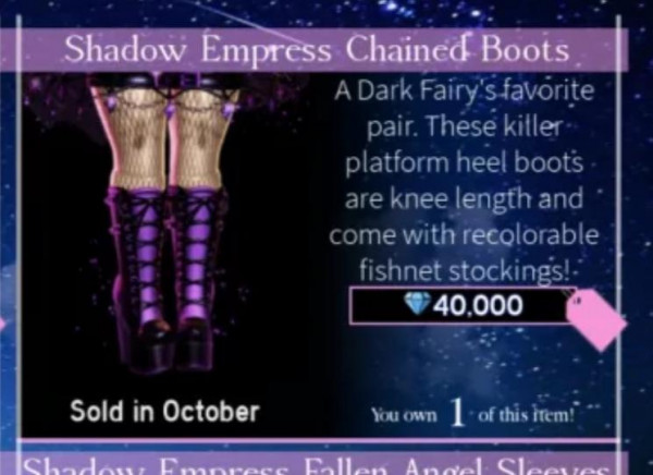 Royale high Shadow empress chained boots