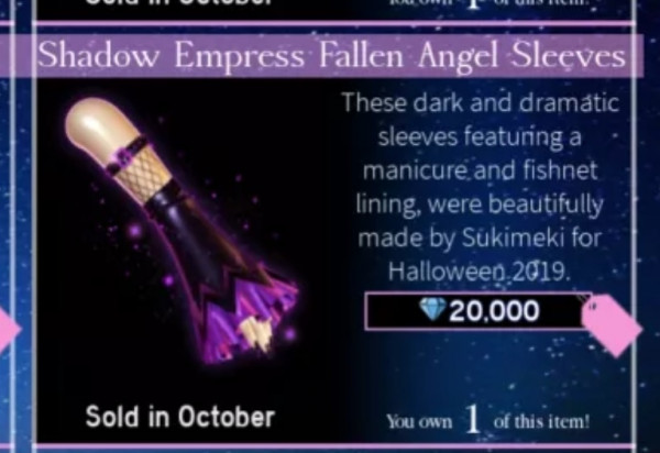 Royale high Shadow empress fallen angel sleeves