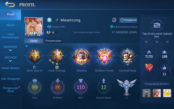 Akun Mobile Legend hero99 skin110 5epic Aman