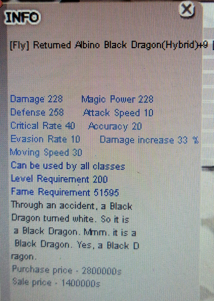 Fly Returned Albino Black Dragon H+9 Unnap