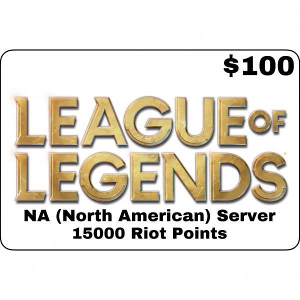 League of Legends $100 (NA Server) 15000 Riot Poin