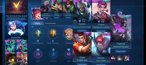AKUN GG| EPIC LIMITED CHOU FT GUSION| 76 HERO 66 SKIN