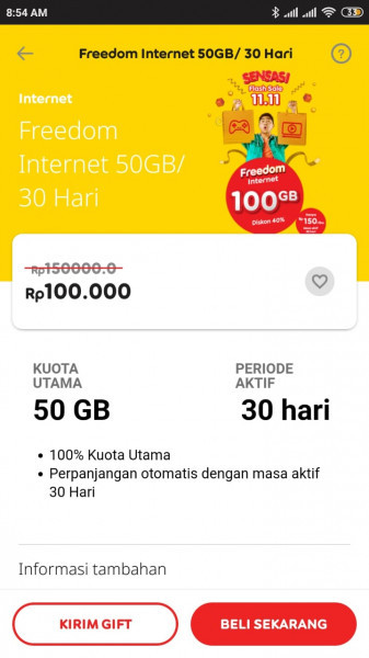 Gift Paket Data Freedom Internet 50GB