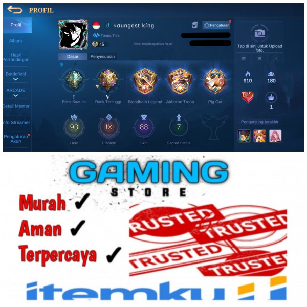 Akun Mobile Legends. Hero 90+. Emblem All Max