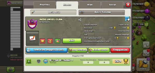 Klan level 13 | nick: INDO LMSEL CLAN | Win: 117 l