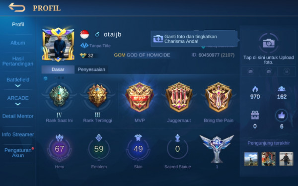 Akun Mobile Legend hero67 skin49 Allunbind Aman