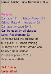 Rascal Rabbit Face Hammer 2 XG +8 (Clean)
