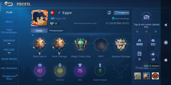 Akun mobile legend monsep nominus, murah meriah