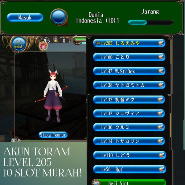 Akun Toram level 205, slot ada 10 server indo murah